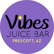 This is the restaurant logo for Vibes Juice Bar