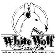 This is the restaurant logo for White Wolf Cafe