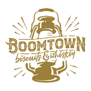 This is the restaurant logo for Boomtown Biscuits & Whiskey