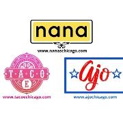 This is the restaurant logo for Nana, Ajo & Taco E