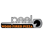 This is the restaurant logo for Peel Wood Fired Pizza and Brewery