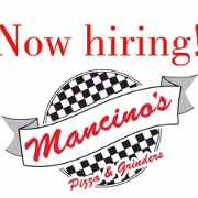 This is the restaurant logo for Mancino's Grinders & Pizza