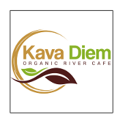 This is the restaurant logo for Kava Diem Organic River Cafe
