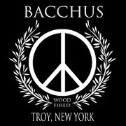 This is the restaurant logo for Bacchus Wood-Fired