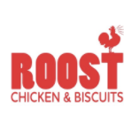 This is the restaurant logo for Roost Chicken & Biscuits