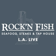 This is the restaurant logo for Rock'N Fish