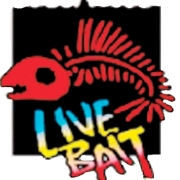 This is the restaurant logo for Live Bait Food & Spirits