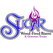 This is the restaurant logo for Sugar Wood Fired Bistro and Gourmet Treats