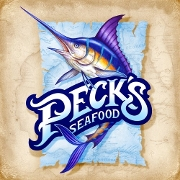 This is the restaurant logo for Peck's Seafood Restaurant