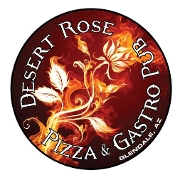 This is the restaurant logo for Desert Rose Pizza Gastropub and Steaks