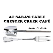 This is the restaurant logo for At Sara's Table Chester Creek Cafe