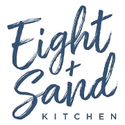 This is the restaurant logo for Eight + Sand Kitchen