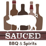 This is the restaurant logo for Sauced BBQ & Spirits