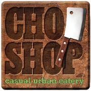 This is the restaurant logo for Chop Shop