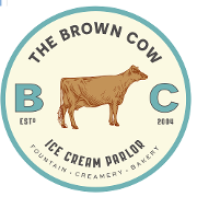 This is the restaurant logo for The Brown Cow Ice Cream Parlor