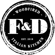 This is the restaurant logo for F&D Woodfired Italian Kitchen