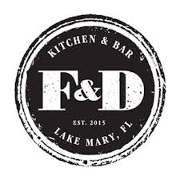 This is the restaurant logo for F&D Kitchen & Bar