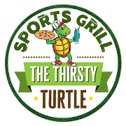 This is the restaurant logo for The Thirsty Turtle Sports Grill