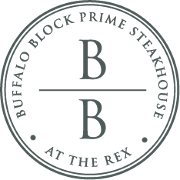 This is the restaurant logo for Buffalo Block Prime Steakhouse at the Rex