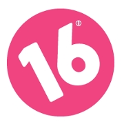 This is the restaurant logo for 16 Handles