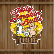 This is the restaurant logo for Holy Smokin Butts BBQ