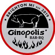 This is the restaurant logo for GINOPOLIS' BAR-BQ SMOKEHOUSE