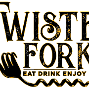 This is the restaurant logo for Twisted Fork Grill & Bar