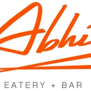 This is the restaurant logo for Abhi Eatery and Bar
