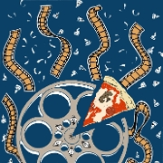 This is the restaurant logo for Reel Pizza Cinerama