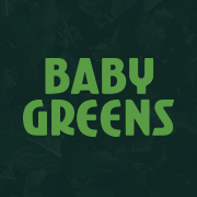 This is the restaurant logo for Baby Greens