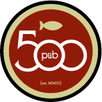 This is the restaurant logo for Pub 500