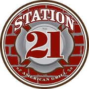 This is the restaurant logo for Station 21 American Grill