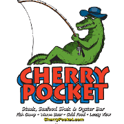 This is the restaurant logo for Cherry Pocket Steak N Seafood Shak