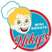 This is the restaurant logo for Niky's Mini Donuts