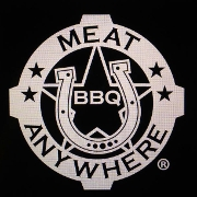 This is the restaurant logo for Meat U Anywhere BBQ