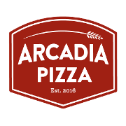 This is the restaurant logo for Arcadia Pizza