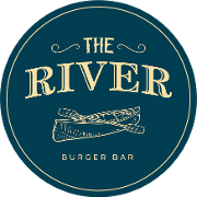 This is the restaurant logo for The River Burger Bar