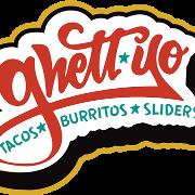 This is the restaurant logo for Ghett Yo Taco, Burritos & Sliders