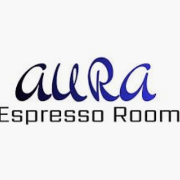 This is the restaurant logo for Aura Espresso Room