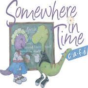 This is the restaurant logo for Somewhere In Time Cafe - Mystic