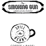 This is the restaurant logo for Smoking Gun & Spill the Beans