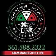 This is the restaurant logo for Mamma Mia's on the Beach
