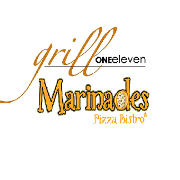 This is the restaurant logo for Grill One Eleven / Marinades Pizza Bistro