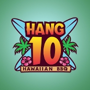 This is the restaurant logo for Press Public House and Hang 10 Hawaiian BBQ Grill