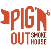 This is the restaurant logo for Piggin' Out Smokehouse