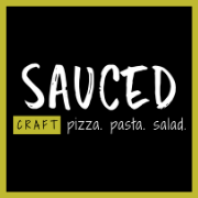 This is the restaurant logo for Sauced: Pizza. Pasta. Salad - Pineville