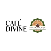 This is the restaurant logo for Cafe Divine & Holy Grounds Curbside