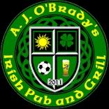 This is the restaurant logo for A.J. OBradys Irish Pub & Grill-