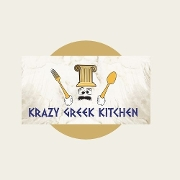 This is the restaurant logo for Krazy Greek Kitchen