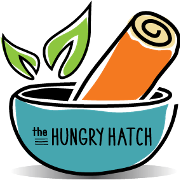 This is the restaurant logo for The Hungry Hatch